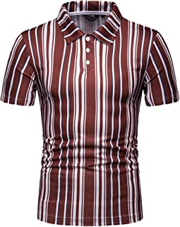 Tiitstoy Summer Men's Causal Striped Printed Top Blouse Button Stand Collar Short Sleeve Shirts