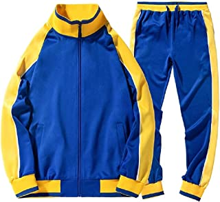 Howely Mens Athletic Pocket Hit Color 2 Piece Set Zip-Front Tracksuit Jog Set
