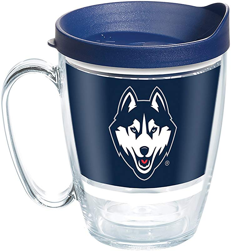 Tervis 1272316 UConn Huskies Legend Tumbler With Wrap And Navy Lid 16oz Mug Clear