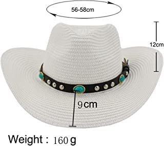 Lady's Sun hat 2019 Westerly Women's Outdoor Beach Hat Sunscreen Visor Hat Skull Fedora Hat Turquoise Chaff Hat Sun hat (Color : White, Size : 56-58CM)