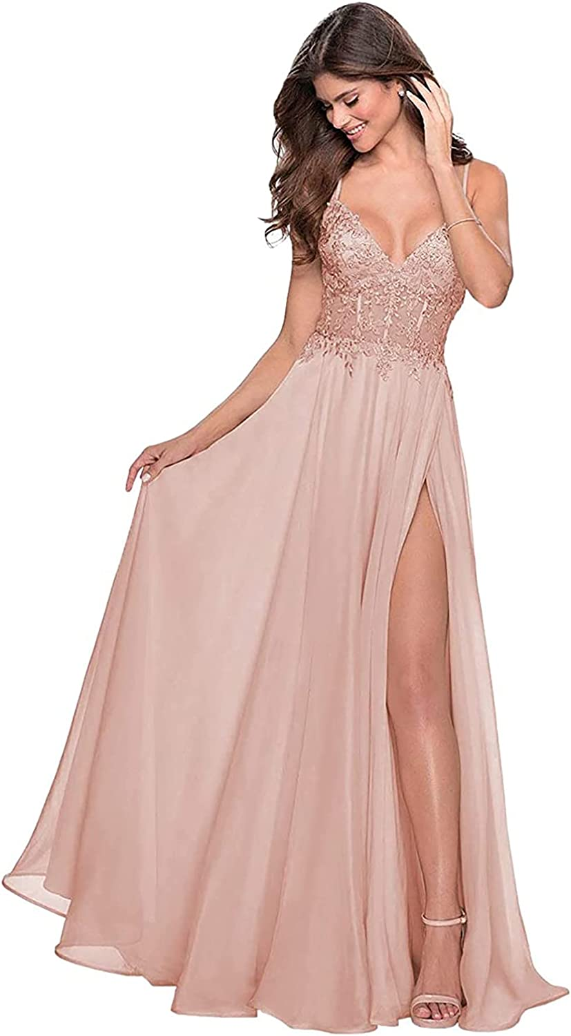 Women's Prom Dresses Long with Slit A Line Formal Evening Gowns Lace V Neck Wedding Party Bridesmaid Dress