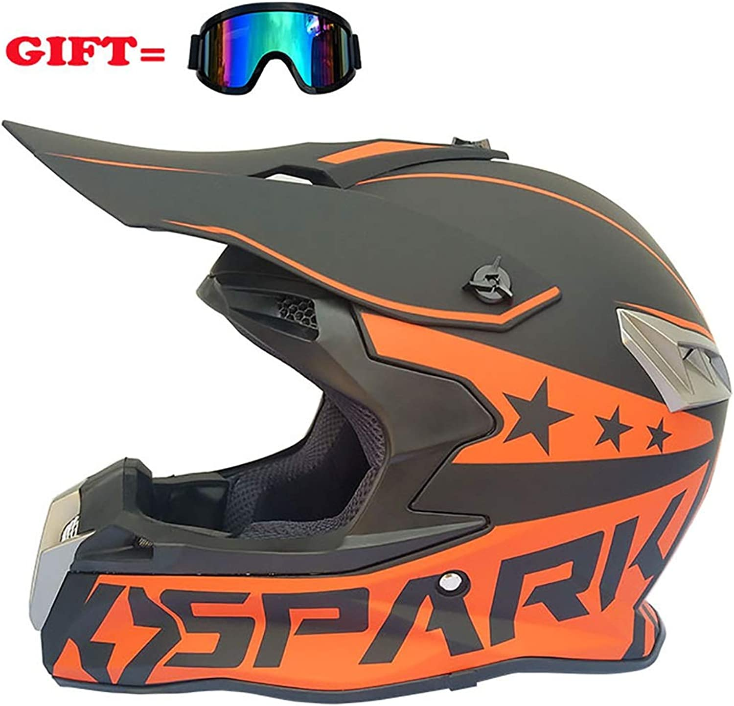 Four Seasons Motorcycle Helmet Frosted Moped Racing OffRoad Vehicle, ABS Material, Unisex Full face Helmet, Fashion, Free Goggles   (Size   orange3)