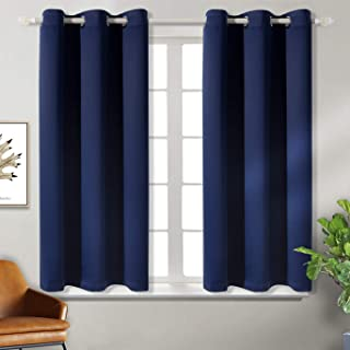 BGment Blackout Curtains for Bedroom - Grommet Thermal Insulated Room Darkening Curtains for Living Room, Set of 2 Panels (38 x 54 Inch, Navy Blue)