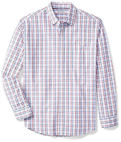 Amazon Essentials Men's Regular-Fit Long-Sleeve Casual Poplin Shirt, Red/White/Blue Plaid, Large