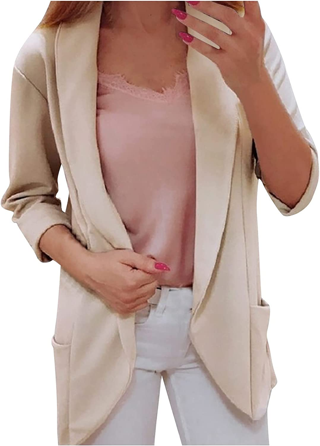 Women Casual Blazers Open Front 3/4 Sleeve Ruched Cardigan Solid Color Long-Sleeved Top LightweightThinworkOffice Suit Jacket