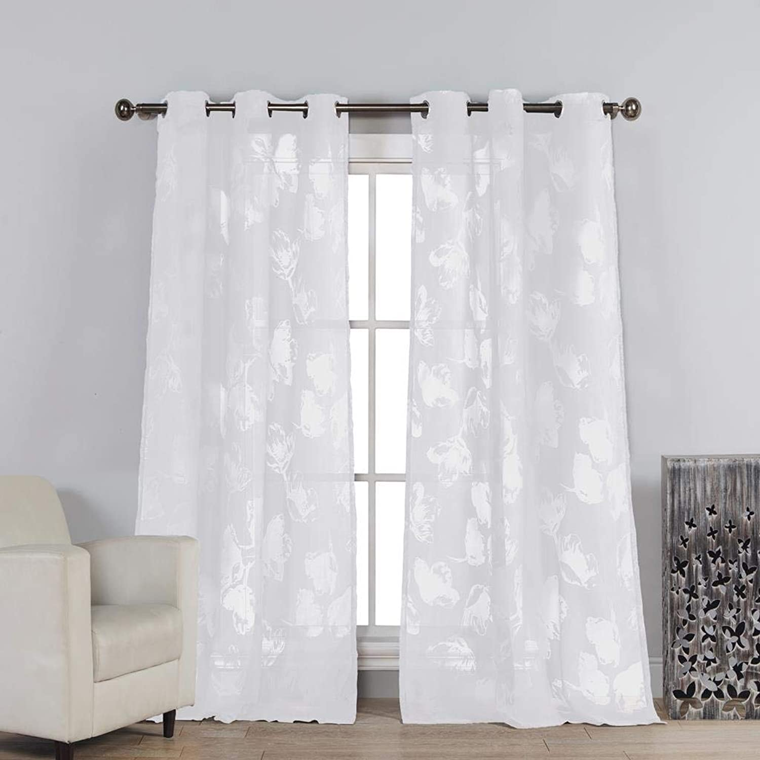 Kensie - Aster Floral Burnout Semi Sheer Grommet Top Window Curtains for Living Room & Bedroom - Assorted colors - Set of 2 Panels (54 X 84 Inch - White)