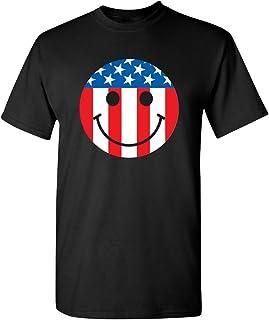 Feelin Good Tees USA Flag Smile Face Emoticon Patriotic 4th of July Funny Tshirt