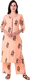 MEVE WOMEN'S 100% COTTON 2 PIECE KURTA PALAZZO SET IN ORANGE