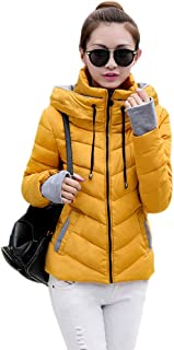 XFentech Women Quilted Coat - New Ladies Quilted Winter Coat Hooded Slim Down Cotton Jacket