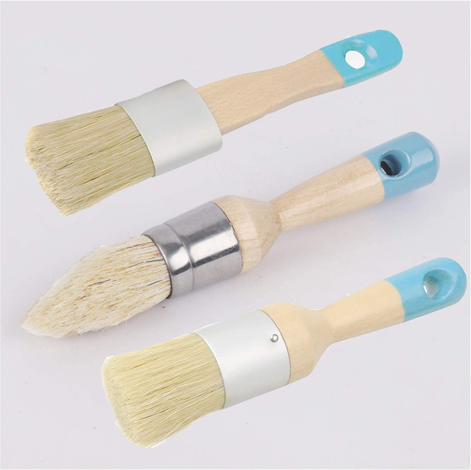 Chalk and Wax Paint Brushes Bristle Stencil Brushes, Pro-Grade-Chip Paint Brushes, for Wood Furniture Home Decor, Including Pointed, Flat and Round Chalked Paint Brushes (3 Pieces)