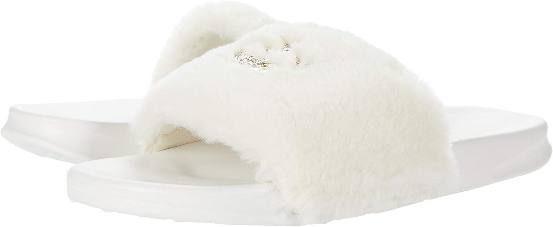 Juicy Couture Women's Slide Slipper Sandals With Faux Fur