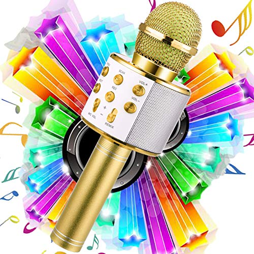 WDERNI Wireless Karaoke Microphone Bluetooth, 3 in 1 Wireless Portable Handheld Mic Karaoke Machine for Christmas Home Birthday Party, Voice Disguiser Karaoke Microphone for Kids(Gold)