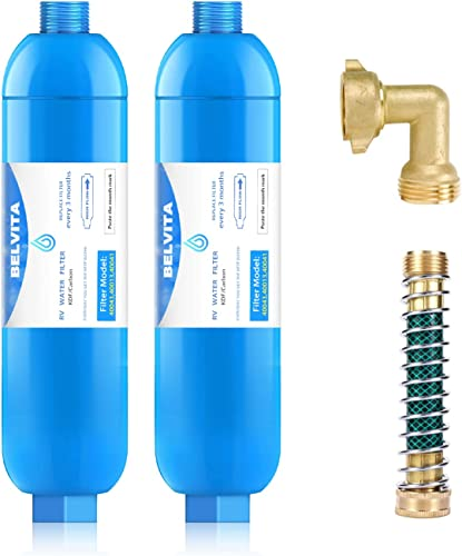wholesale BELVITA RV Inline Marine Water Filter, Reduces Chlorine, Bad Taste&Odor outlet sale for RVs,NSF Certified 2021 with Flexible Hose Protector (Pack of 4) sale