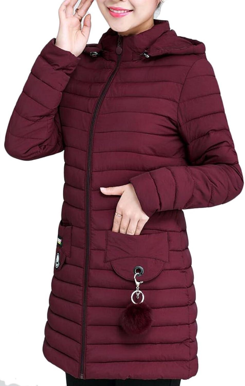Keaac Women Casual Hooded Zip Up Long Sleeve Pockets Down Coats