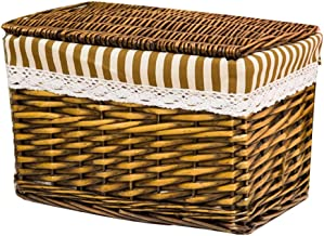 YAYADU Storage Basket Rattan Baskets Rectangle Finishing Box With Lid Store Toy Pillow Clothes Beauty Tools Home Hotel Sch...