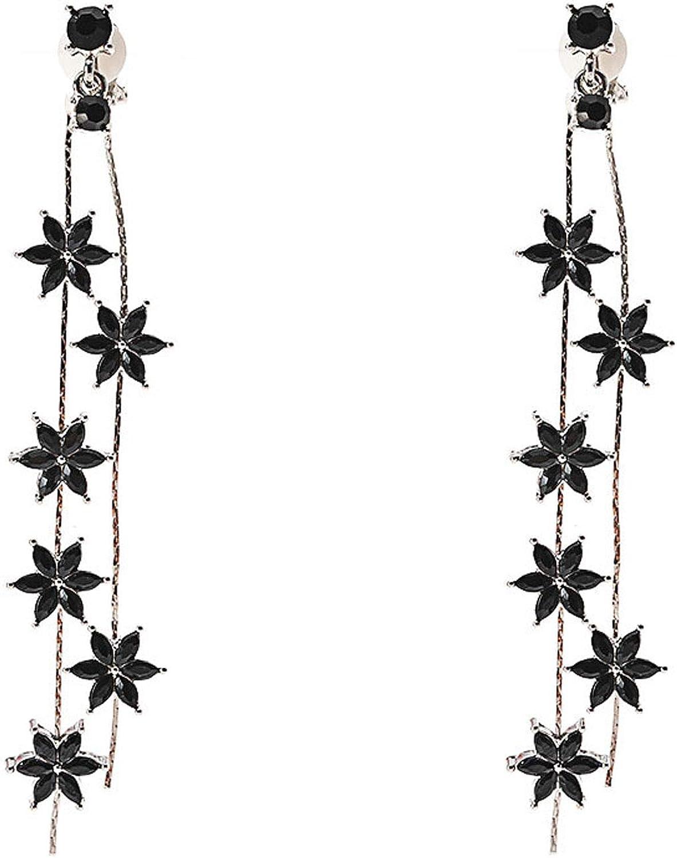 Flower Long Tassel Clip on Earrings Dangle Fringe Black Crystal non Pierced for Women Girls Christmas