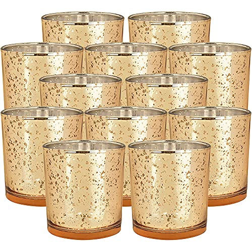 Just Artifacts 4-Inch Speckled Mercury Glass Votive Candle Holder (12pc, Gold)