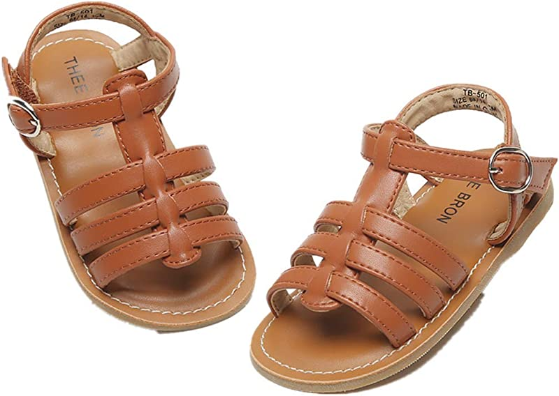 THEE BRON Girl S Toddler Little Kid Classic Sandals Flat Shoes