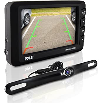 """Wireless Rear View Backup Camera - 4.3"""" LCD Monitor Built-in Distance Scale Lines Parking/Reverse Assist w/ Adjustable Slim Bar Cam Marine Grade Waterproof Night Vision LEDs - Pyle PLCM4375WIR_0, BLACK"""