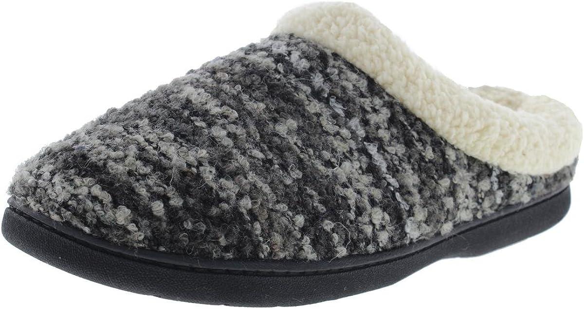 Dearfoams Women's Memory Foam Slipper Clog (Large, Black Multi)