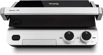 H.Koenig Contact Grill Plancha Electrique de table GR70 Inox 2000W  Ouverture 180°..