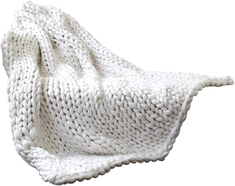 salida de fábrica Comfot Hecho a Mano Super Super Super Grueso Tejer Lana Merino Mantas Manta Caliente sofá Cama Handwoven Suave mullidas alfombras Home Decor-blancoo (Tamaño Multi),80  100  precioso