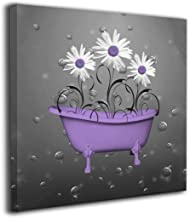Ale-art Purple Gray Daisy Flowers Bubbles Contemporary Pictures Canvas Painting Modern Artwork for Home Decoration Framed Ready to Hang 12