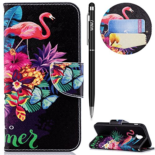 WIWJ Schutzhülle für Samsung Galaxy J5 2017(EU Version) Handyhülle Leather Case für Samsung Galaxy J5 2017 Hülle[Messer Schnalle Gemalt Stand Handy Case] Hülle für Samsung Galaxy J5 2017-Flamingos