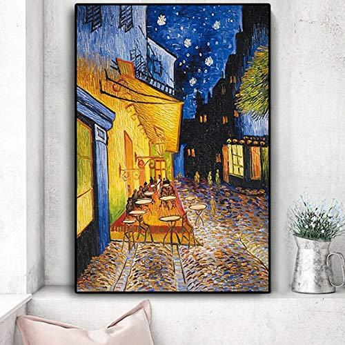 tzxdbh sin Marco 60x90cm Famoso Van Gogh Café Terraza en la Noche Pintura al óleo Reproducciones sobre Lienzo Carteles e Impresiones Cuadro de Pared Imagen para Sala de Estar