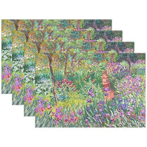 Set de table Set de 6, Iris Garden à Giverny Monet Art Holiday Tapis de table en polyester résistant à la chaleur et antidérapant pour table à manger de cuisine, 45X30Cm