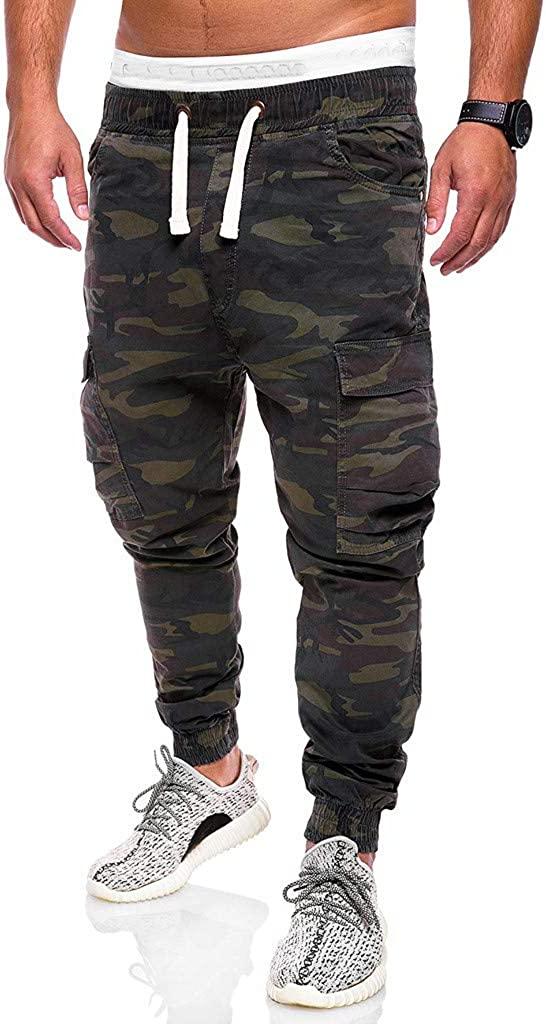 Forthery Fashion Men's Sports Camo Casual Loose Sweatpants Drawstring Cargo Pant with Pocket