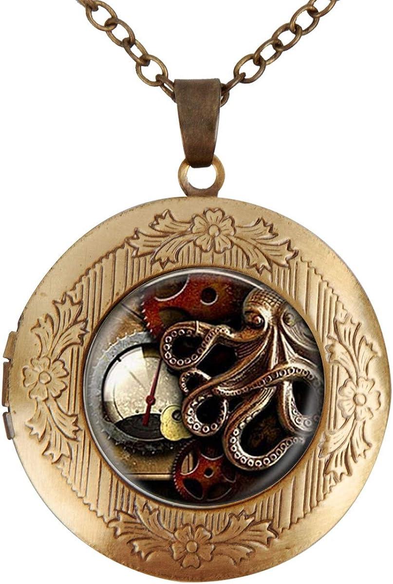 Women Locket Necklace Vintage Animals Lowest price challenge Steampunk Go Clock low-pricing Octopus