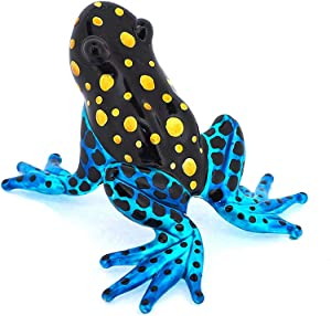 ZOOCRAFT Glass Frog Figurines Collectibles Poison Dart Hand Blown Painted Art Animals Miniature Garden Decor Statue Animal Blue