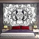 PPOU Blanco Negro Sol Luna Mandala Tapiz Colgante de Pared brujería Hippie Tela de Fondo Manta de Pared A2 180x200cm