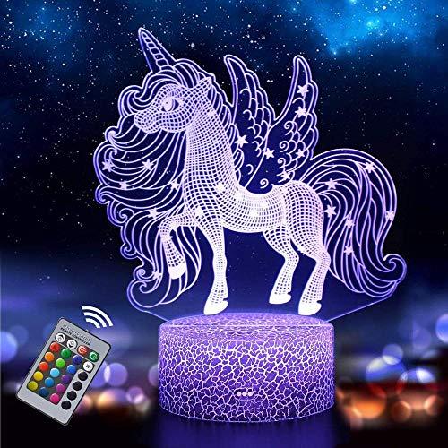 Gqcsglkjdio - Luz de noche de unicornio para niños, lámpara de ilusión 3D, 16 colores que cambian con regalo remoto de cumpleaños y vacaciones para niños niñas (Unicorn2)