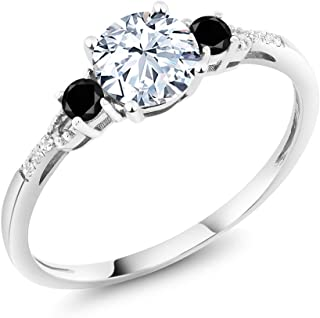 Gem Stone King 10K White Gold Diamond Accent 3-stone Engagement Ring set with White Created Sapphire and Black Diamond 1.38 cttw (Available 5,6,7,8,9)