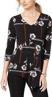 ALFANI Women/'s Red Metallic Asymmetrical-hem Faux-wrap Tunic Shirt Top XL TEDO