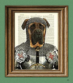 Sir Jowls the English Bullmastiff Dog Knight of the Bark Table in armor Bull Mastiff beautifully upcycled dictionary page book art print