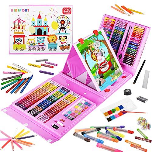 KINSPORY Juego de arte de caballete de doble cara de 228 piezas, kit de dibujo para colorear de pintura, estuche de manualidades para útiles escolares, regalo para niñas, niños, niños (rosa)