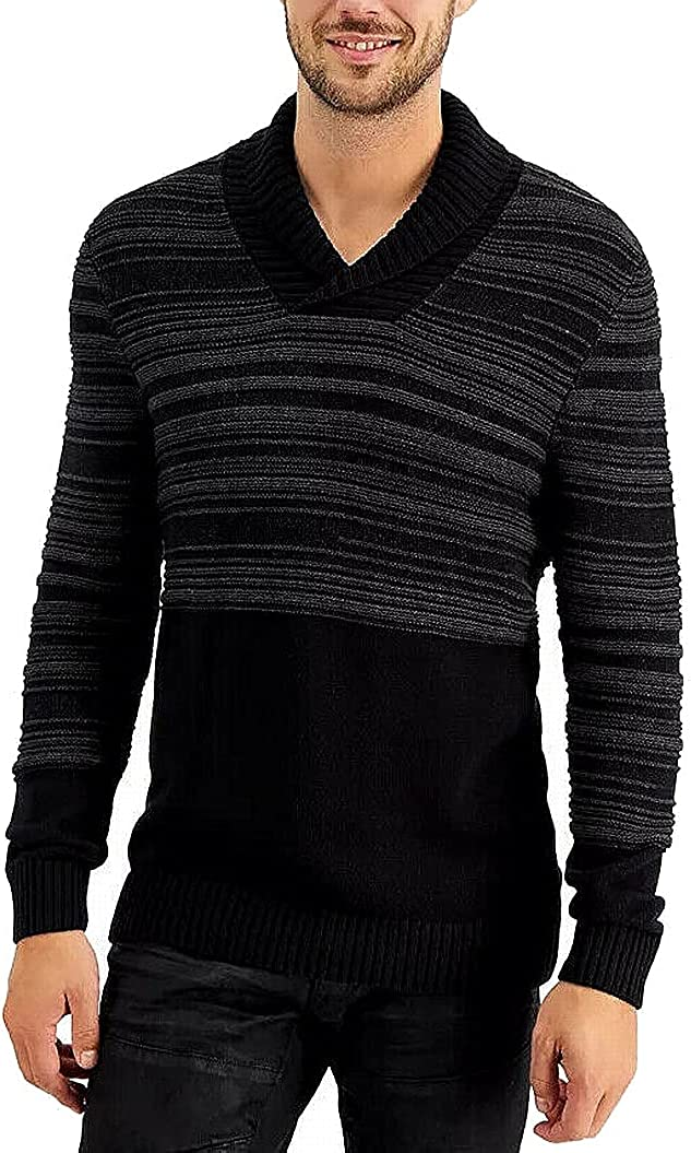 INC Mens Sweater Gray Shawl Collar Striped Knit Pullover Black XS