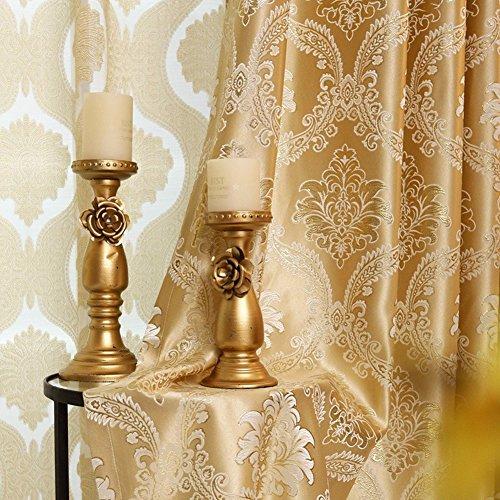 2er-Set Europäische goldene luxuriöse jacquard Vorhänge für Schlafzimmer Wohnzimmer (230*140 cm)