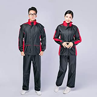 Rain Suits Split Raincoat Outdoor Waterproof Working Clothes Breathable Lining for Body Waterproofing/Blue, Red QDDSP (Color : Red, Size : L)