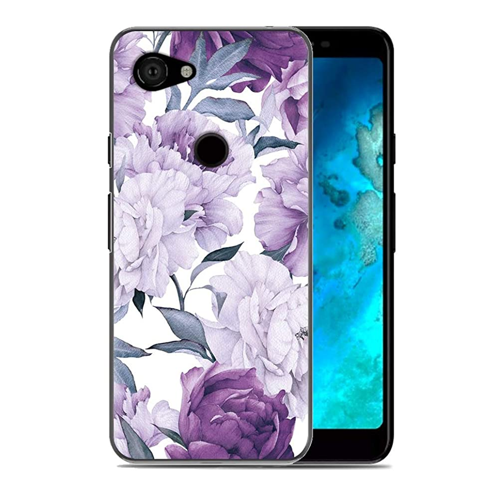Compatible Google Pixel 3A XL Case, OIFEN Flower Pattern Soft TPU Protective Case for Google Pixel 3A XL (Purple Flower)