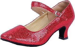 Honeystore Women's Soft Ground Mary Jane Glitter Dance Shoes