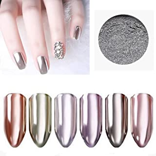 Micup Nail Chrome Powder -2box Silver Mirror Holographic Glitter Nail Powder Manicure Pigment 1g/box