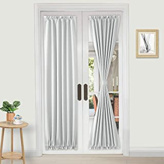 DWCN French Door Curtains - Rod Pocket Thermal Blackout Curtain for Doors with Glass Window, Kitchen and Patio Doors for Privacy, 25 X 72 Inches Long, 2 Curtain Panels with Tieback, White