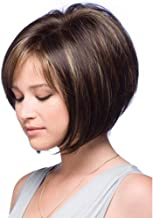 Brown Wigs for Women Short Straight Bob Hair Wig with Bangs Natural Full Wig Heat Resistant Synthetic Fashion Wig for Lady Party Daily Use (Brown mixed Blonde) LDS045