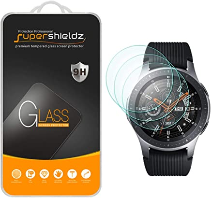 Supershieldz (3 Pack) for Samsung Galaxy Watch (46 mm) Tempered Glass Screen Protector, (Full Screen Coverage) Anti Scratch, Bubble Free