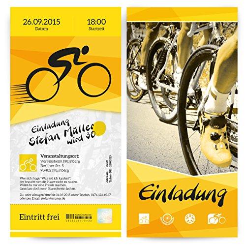 Einladungen (30 Stück) Fahrrad Rennen Eintrittskarte Ticket Rad Tour Einladungskarten