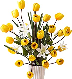 YILIYAJIA Artificial Tulips Silk Flowers Bouquet Arrangement Long Stem Tulips Artificial Flowers Floor Flowers for Wedding Party Patio Decoration,40''(Yellow)